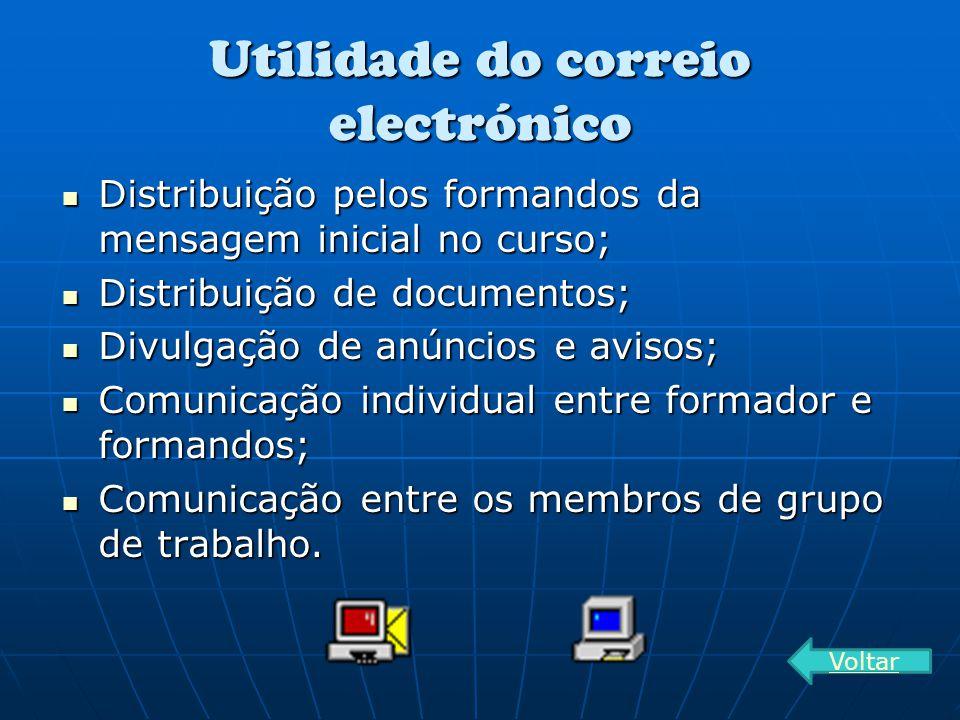 Utilidade do correio electrónico Distribuição pelos formandos da mensagem inicial no curso; Distribuição pelos formandos da mensagem inicial no curso;