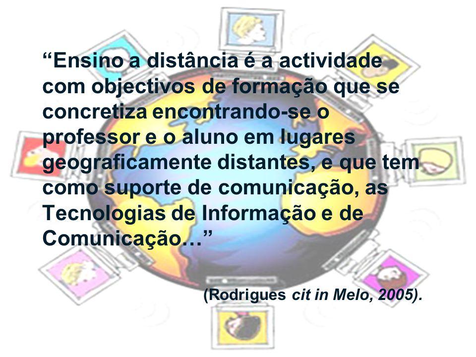 """""""Ensino a distância é a actividade com objectivos de formação que se concretiza encontrando-se o professor e o aluno em lugares geograficamente distan"""