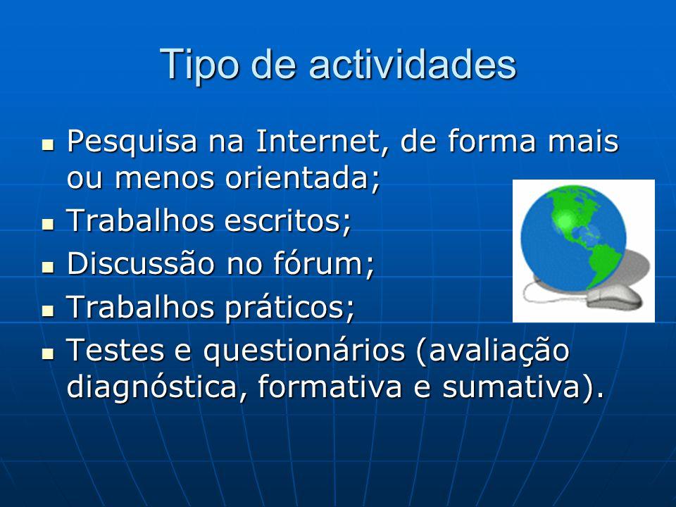 Tipo de actividades Pesquisa na Internet, de forma mais ou menos orientada; Pesquisa na Internet, de forma mais ou menos orientada; Trabalhos escritos