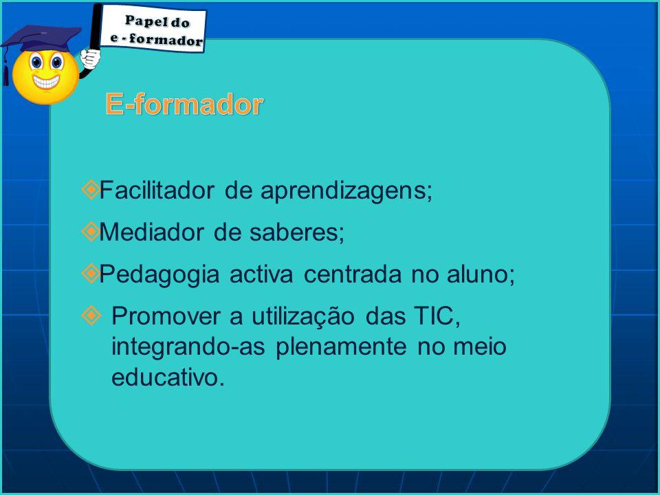  Facilitador de aprendizagens;  Mediador de saberes;  Pedagogia activa centrada no aluno;  Promover a utilização das TIC, integrando-as plenamente