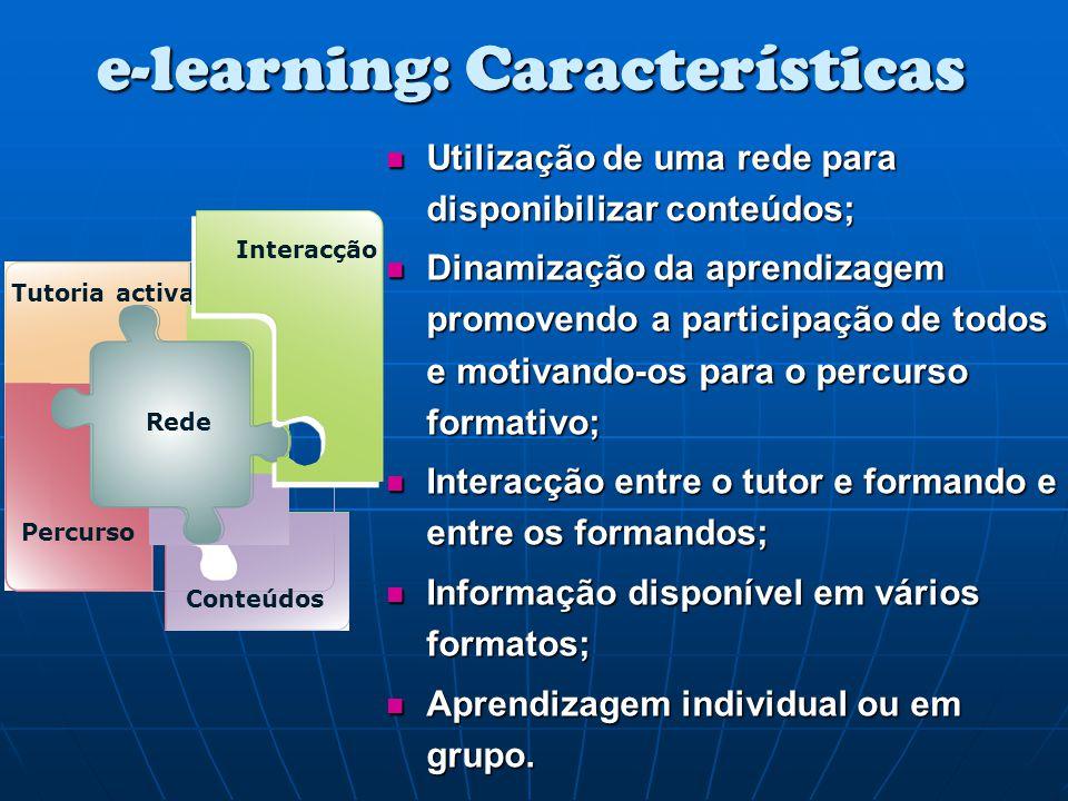e-learning: Características Utilização de uma rede para disponibilizar conteúdos; Utilização de uma rede para disponibilizar conteúdos; Dinamização da