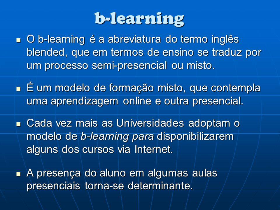 b-learning O b-learning é a abreviatura do termo inglês blended, que em termos de ensino se traduz por um processo semi-presencial ou misto. O b-learn