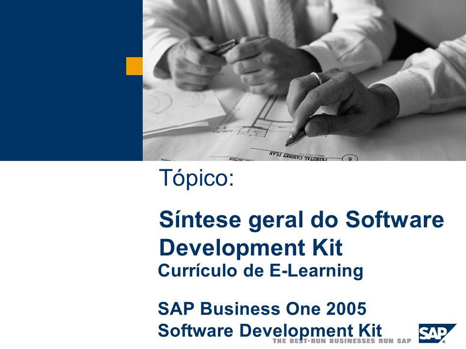  SAP AG 2003 O Software Development Kit do SAP Business One Os componentes do Software Development Kit do SAP Business One No final deste tópico, você estará apto para descrever e explicar: Metas do tópico