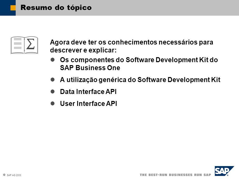  SAP AG 2003 Agora deve ter os conhecimentos necessários para descrever e explicar: Resumo do tópico Os componentes do Software Development Kit do SA