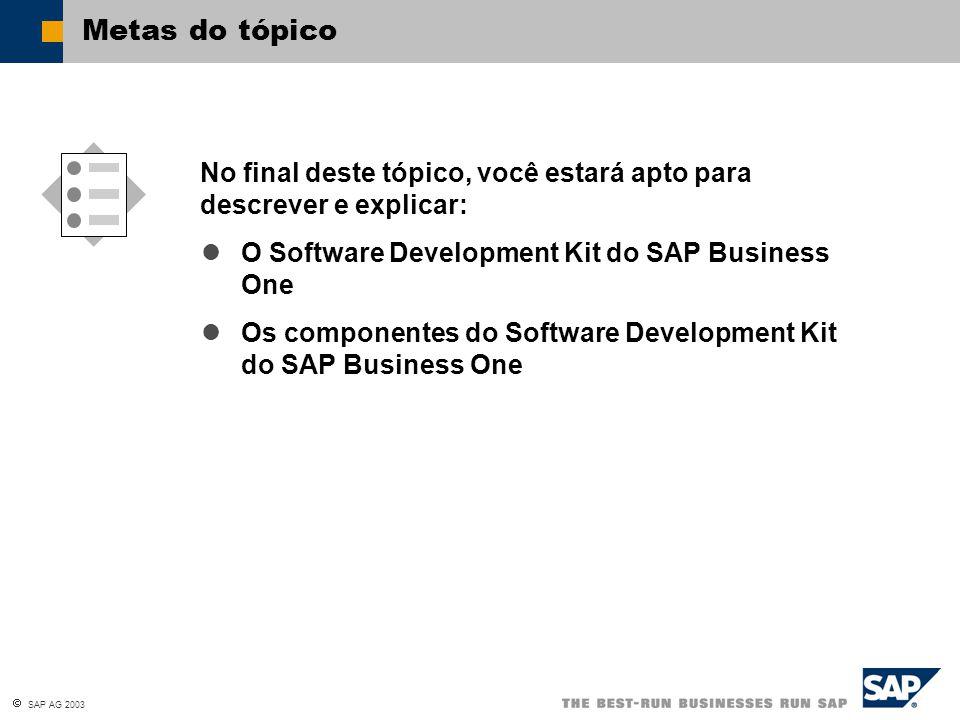  SAP AG 2003 Agora deve ter os conhecimentos necessários para descrever e explicar: Resumo do tópico Os componentes do Software Development Kit do SAP Business One A utilização genérica do Software Development Kit Data Interface API User Interface API