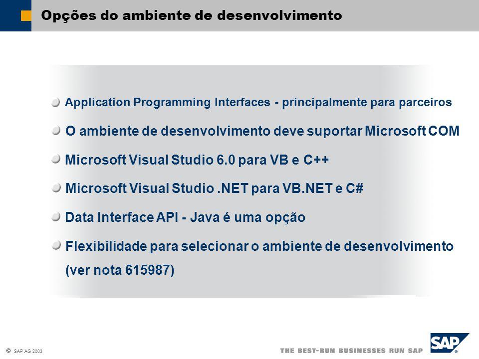  SAP AG 2003 Opções do ambiente de desenvolvimento O ambiente de desenvolvimento deve suportar Microsoft COM Data Interface API - Java é uma opção Fl