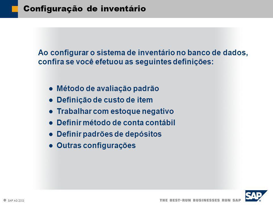 Configuração de inventário Ao configurar o sistema de inventário no banco de dados, confira se você efetuou as seguintes definições: Método de avaliação padrão Definição de custo de item Trabalhar com estoque negativo Definir método de conta contábil Definir padrões de depósitos Outras configurações