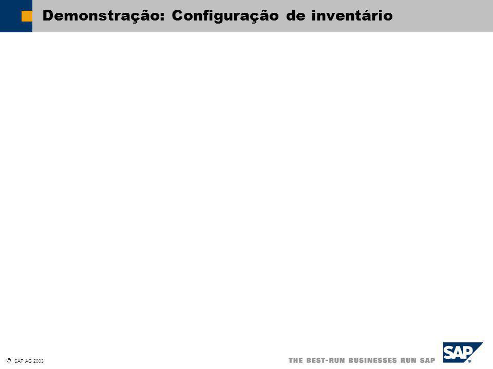  SAP AG 2003 Demonstração: Configuração de inventário