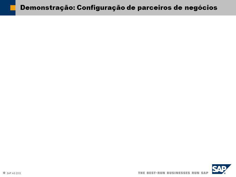  SAP AG 2003 Demonstração: Configuração de parceiros de negócios