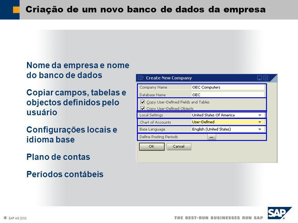  SAP AG 2003 Criação de um novo banco de dados da empresa Nome da empresa e nome do banco de dados Copiar campos, tabelas e objectos definidos pelo usuário Configurações locais e idioma base Plano de contas Períodos contábeis