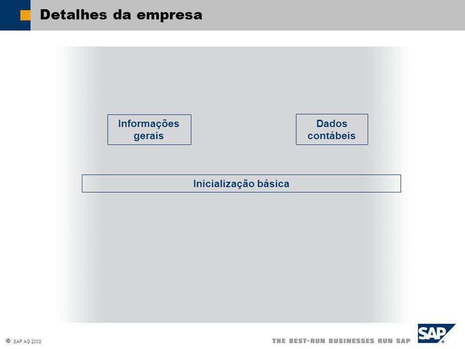 Detalhes da empresa Informações gerais Dados contábeis Inicialização básica