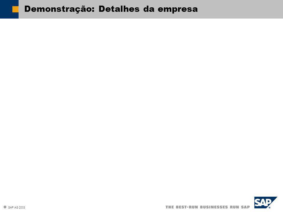  SAP AG 2003 Demonstração: Detalhes da empresa