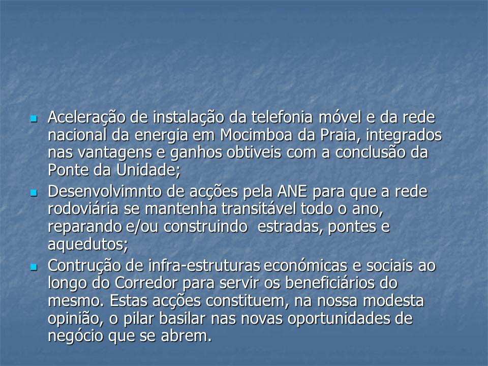 Aceleração de instalação da telefonia móvel e da rede nacional da energia em Mocimboa da Praia, integrados nas vantagens e ganhos obtiveis com a concl