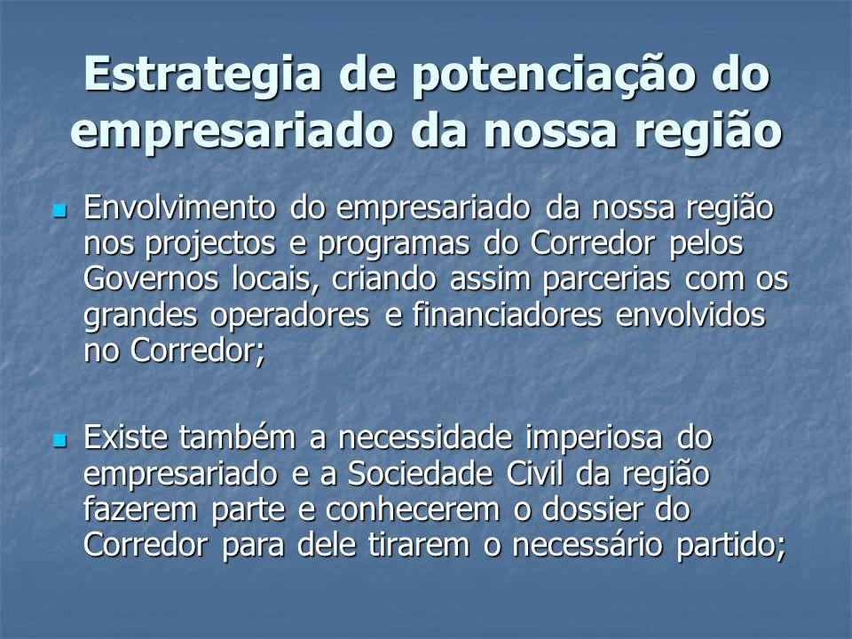 Estrategia de potenciação do empresariado da nossa região Envolvimento do empresariado da nossa região nos projectos e programas do Corredor pelos Gov