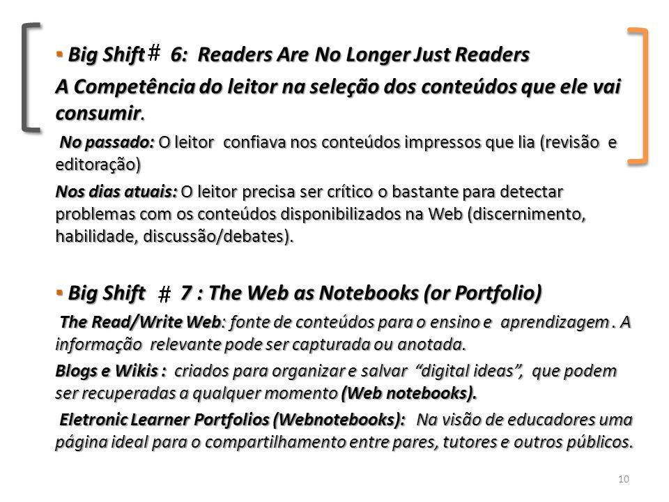 ▪ Big Shift 6: Readers Are No Longer Just Readers A Competência do leitor na seleção dos conteúdos que ele vai consumir.