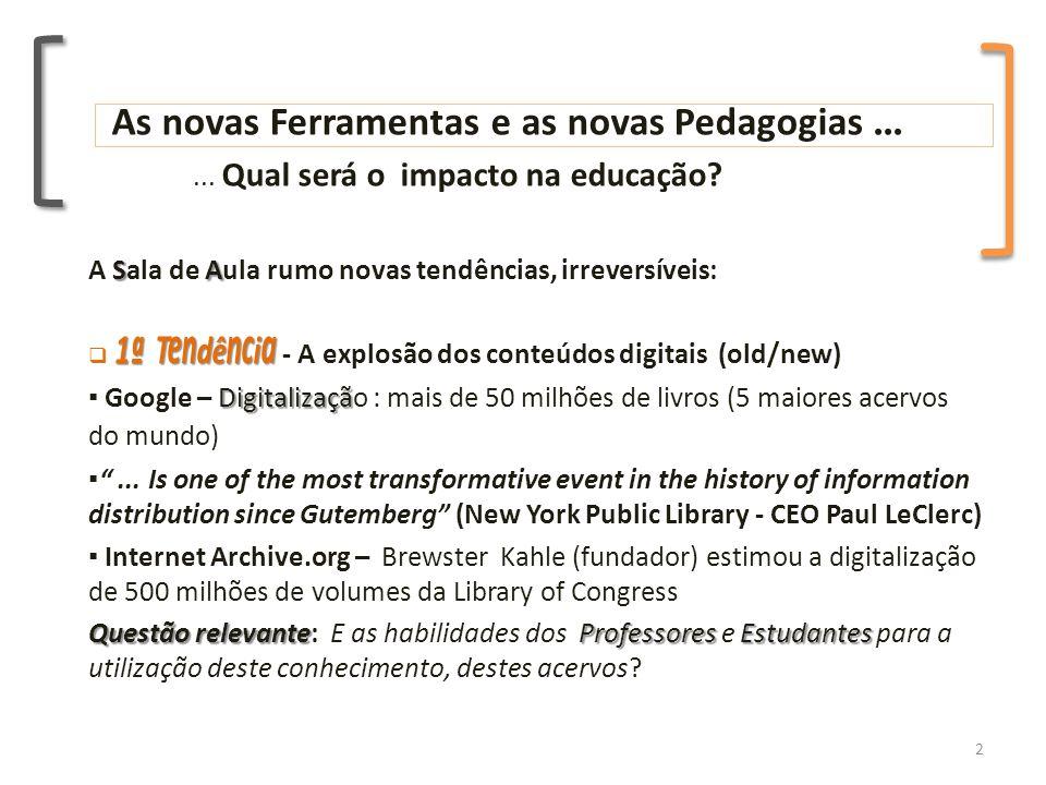 As novas Ferramentas e as novas Pedagogias...... Qual será o impacto na educação.