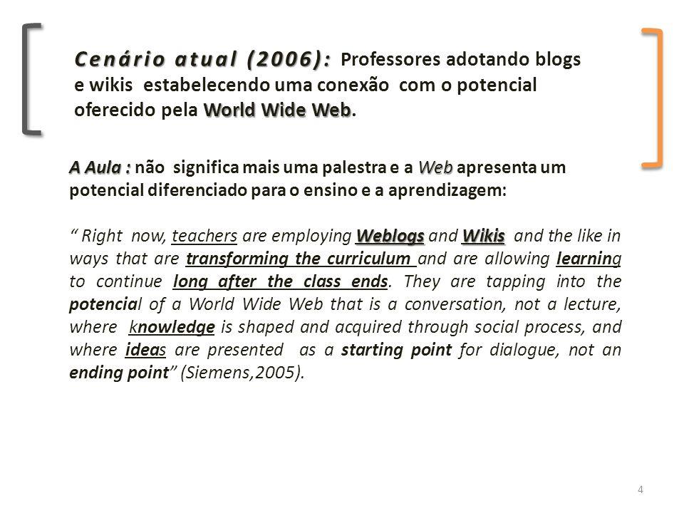 Cenário atual (2006): World Wide Web Cenário atual (2006): Professores adotando blogs e wikis estabelecendo uma conexão com o potencial oferecido pela World Wide Web.