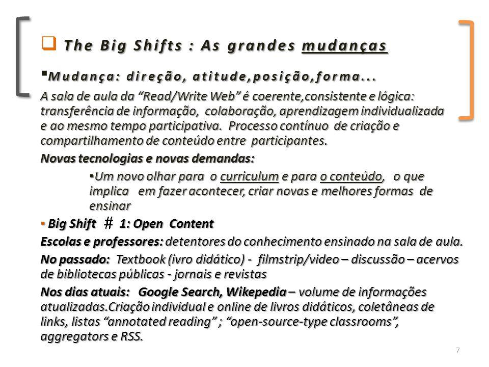 The Big Shifts : As grandes mudanças  The Big Shifts : As grandes mudanças Mudança: direção, atitude,posição,forma...