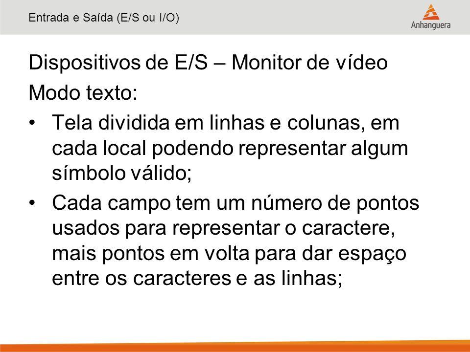 Entrada e Saída (E/S ou I/O) Dispositivos de E/S – Monitor de vídeo Modo texto: Tela dividida em linhas e colunas, em cada local podendo representar a