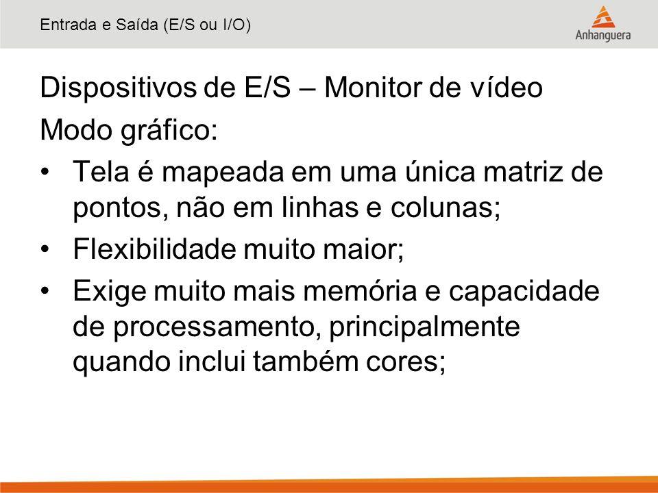 Entrada e Saída (E/S ou I/O) Dispositivos de E/S – Monitor de vídeo Modo gráfico: Tela é mapeada em uma única matriz de pontos, não em linhas e coluna