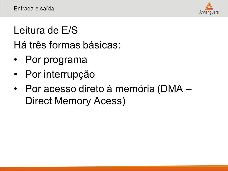 Entrada e saída Leitura de E/S Há três formas básicas: Por programa Por interrupção Por acesso direto à memória (DMA – Direct Memory Acess)