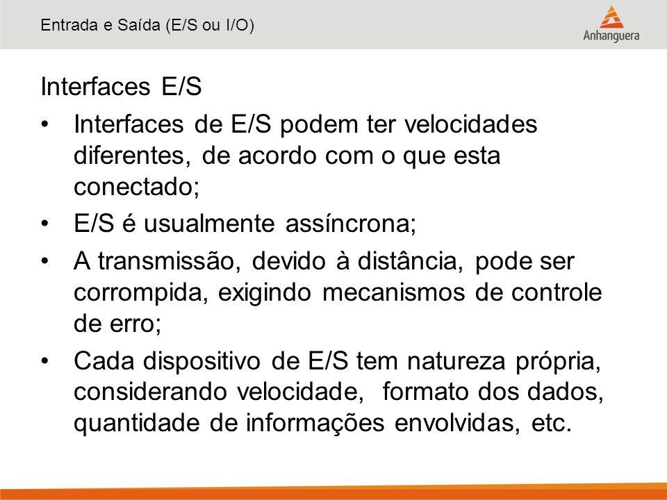 Entrada e Saída (E/S ou I/O) Interfaces E/S Interfaces de E/S podem ter velocidades diferentes, de acordo com o que esta conectado; E/S é usualmente a