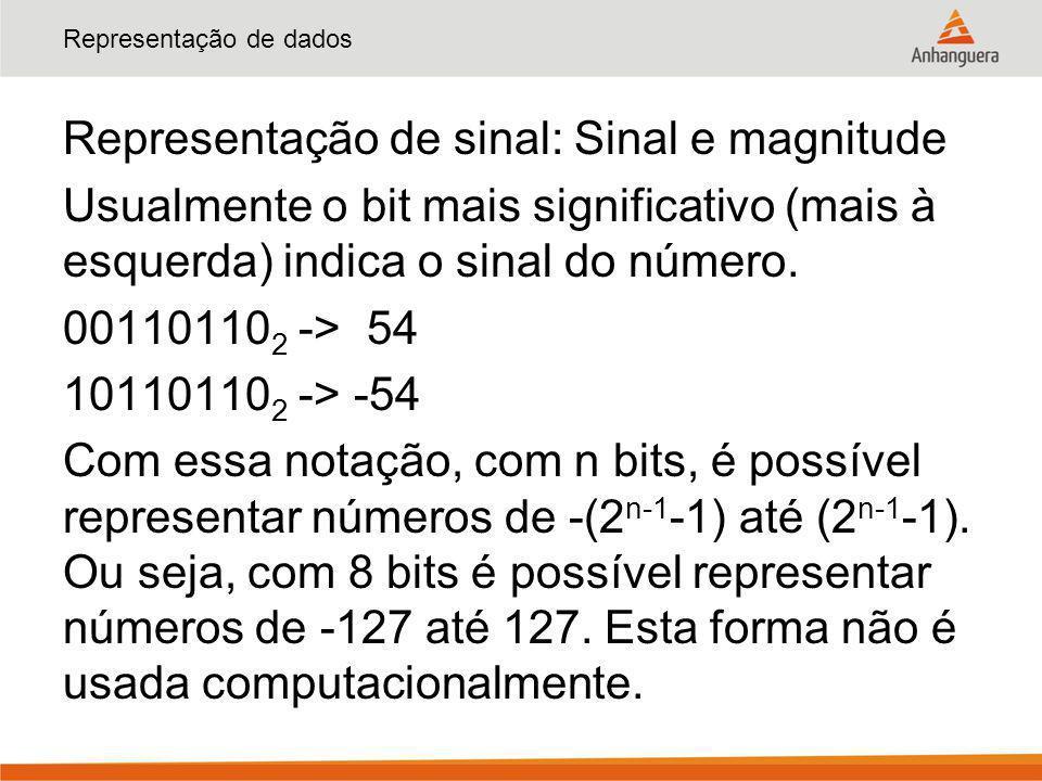Representação de dados Representação de sinal: Sinal e magnitude Usualmente o bit mais significativo (mais à esquerda) indica o sinal do número. 00110