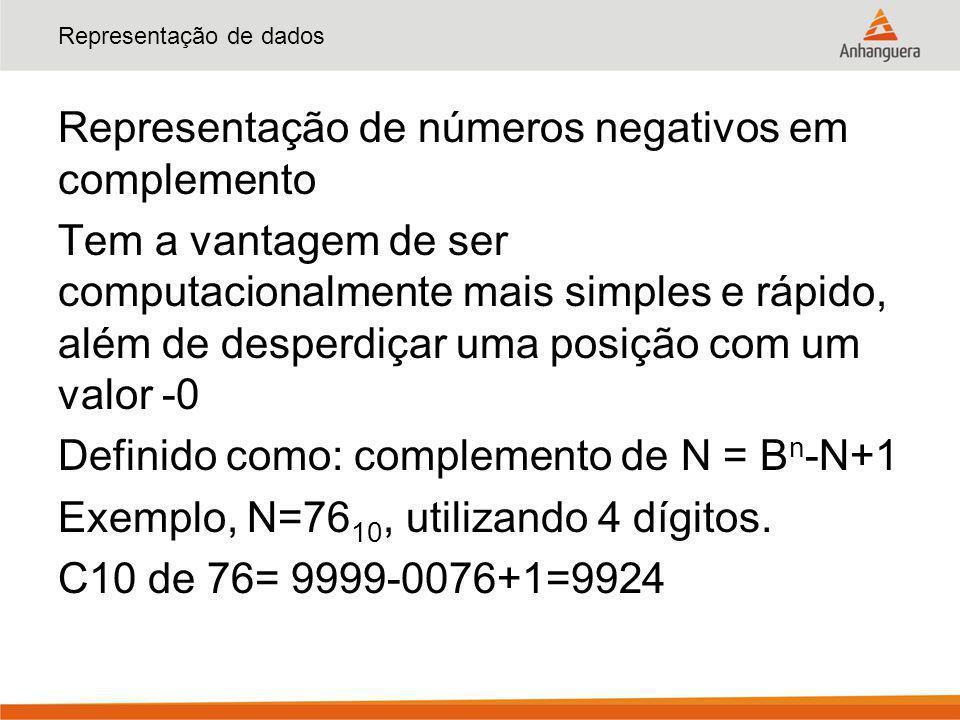 Representação de dados Representação de números negativos em complemento Tem a vantagem de ser computacionalmente mais simples e rápido, além de despe