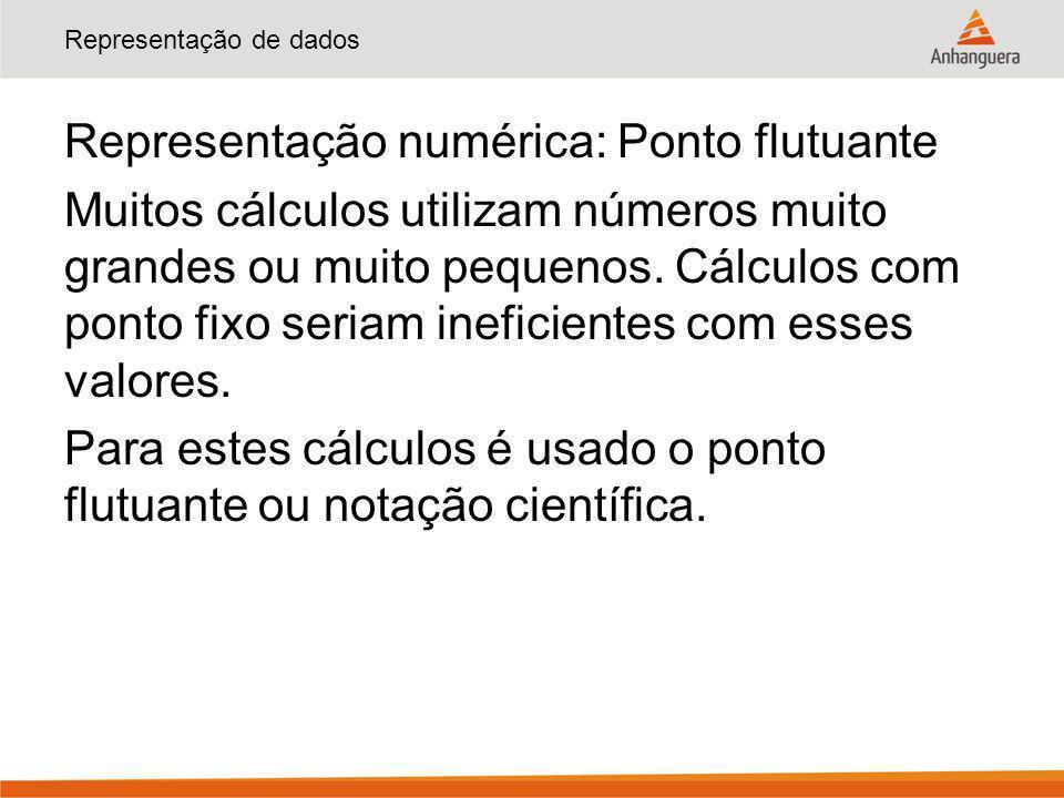 Representação de dados Representação numérica: Ponto flutuante Muitos cálculos utilizam números muito grandes ou muito pequenos. Cálculos com ponto fi
