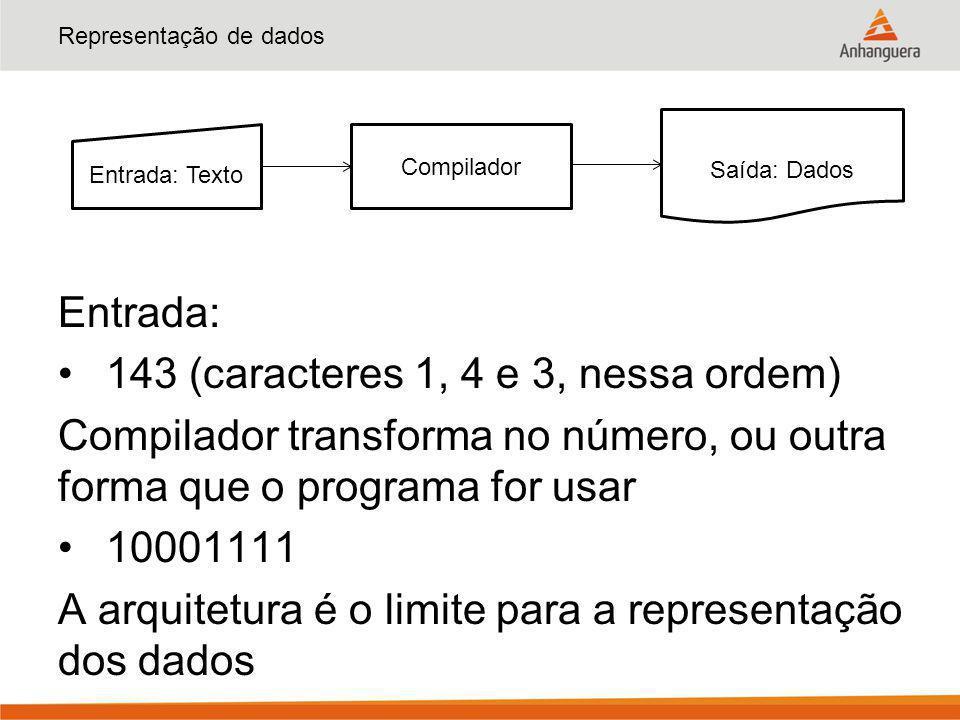 Representação de dados Entrada: 143 (caracteres 1, 4 e 3, nessa ordem) Compilador transforma no número, ou outra forma que o programa for usar 1000111