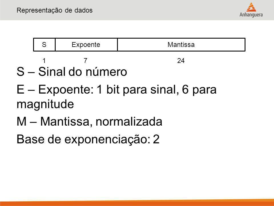 Representação de dados S – Sinal do número E – Expoente: 1 bit para sinal, 6 para magnitude M – Mantissa, normalizada Base de exponenciação: 2 S Manti