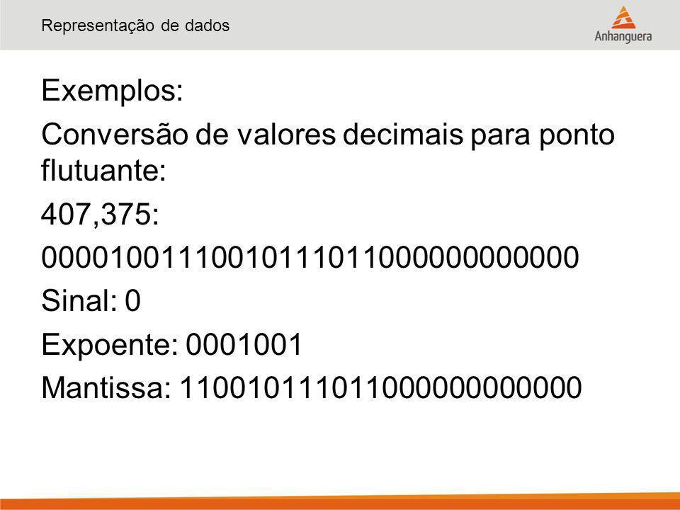 Representação de dados Exemplos: Conversão de valores decimais para ponto flutuante: 407,375: 00001001110010111011000000000000 Sinal: 0 Expoente: 0001