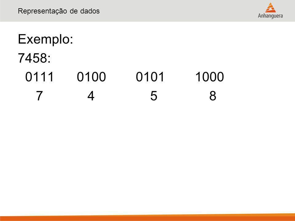 Representação de dados Exemplo: 7458: 0111010001011000 7 4 5 8
