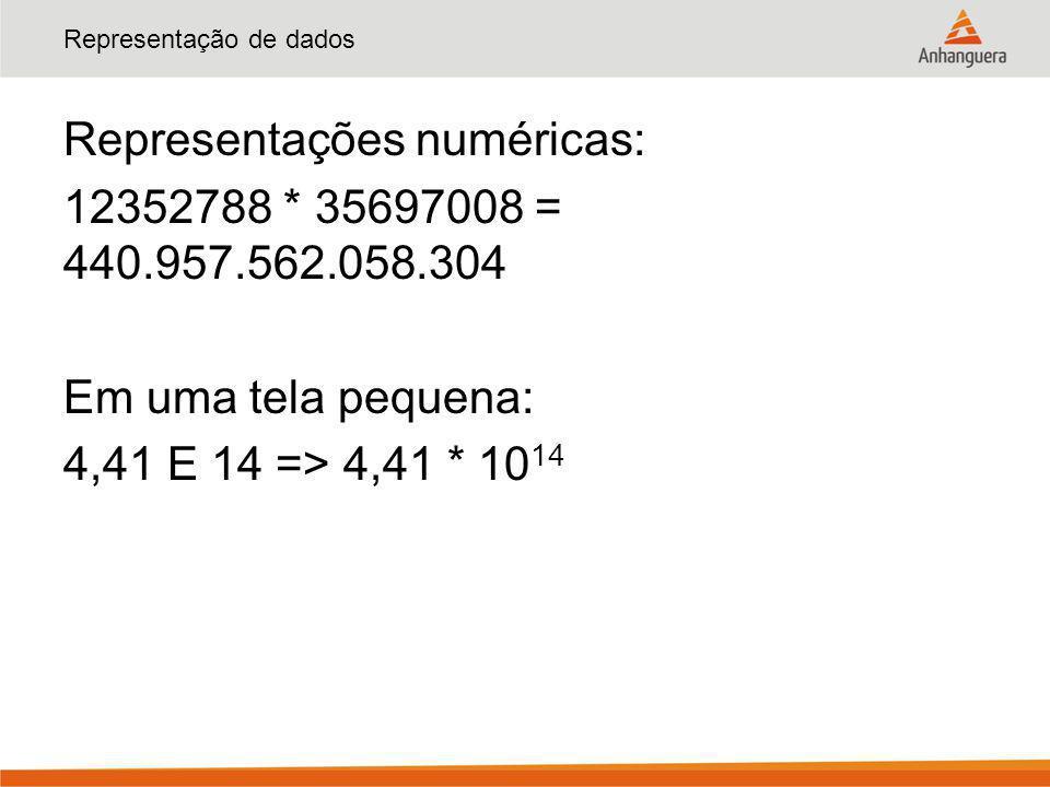 Representação de dados Representações numéricas: 12352788 * 35697008 = 440.957.562.058.304 Em uma tela pequena: 4,41 E 14 => 4,41 * 10 14