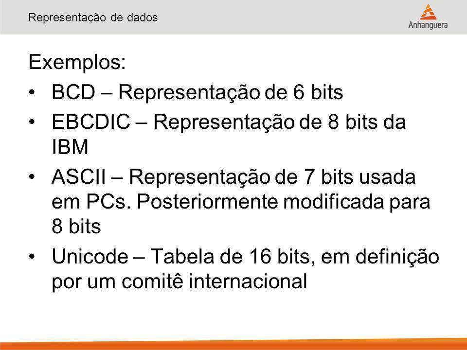 Representação de dados Exemplos: BCD – Representação de 6 bits EBCDIC – Representação de 8 bits da IBM ASCII – Representação de 7 bits usada em PCs. P