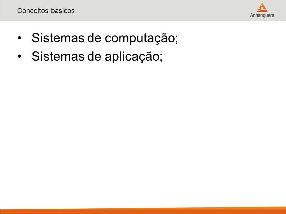 Conceitos básicos Sistemas de computação; Sistemas de aplicação;