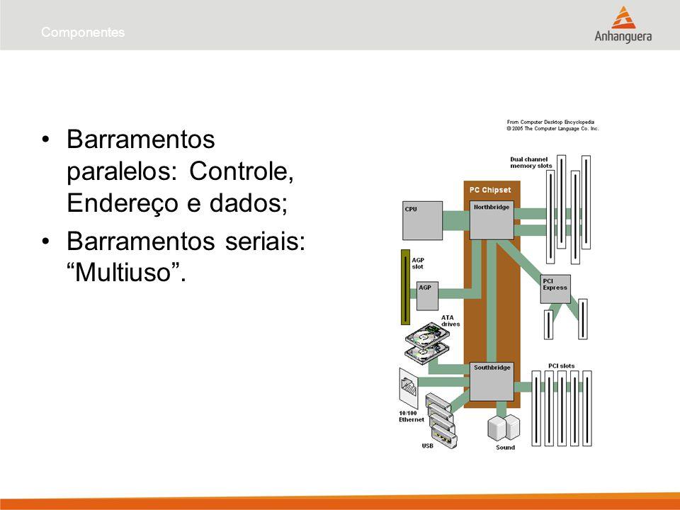"""Componentes Barramentos paralelos: Controle, Endereço e dados; Barramentos seriais: """"Multiuso""""."""