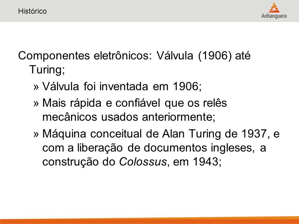 Histórico Componentes eletrônicos: Válvula (1906) até Turing; »Válvula foi inventada em 1906; »Mais rápida e confiável que os relês mecânicos usados anteriormente; »Máquina conceitual de Alan Turing de 1937, e com a liberação de documentos ingleses, a construção do Colossus, em 1943;