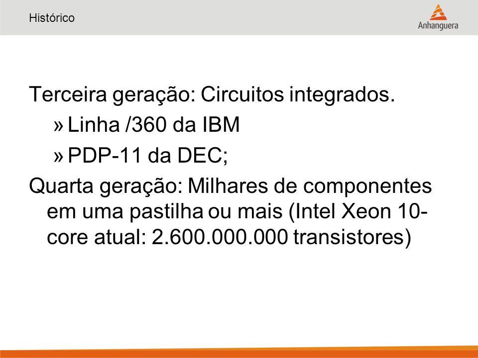 Histórico Terceira geração: Circuitos integrados. »Linha /360 da IBM »PDP-11 da DEC; Quarta geração: Milhares de componentes em uma pastilha ou mais (