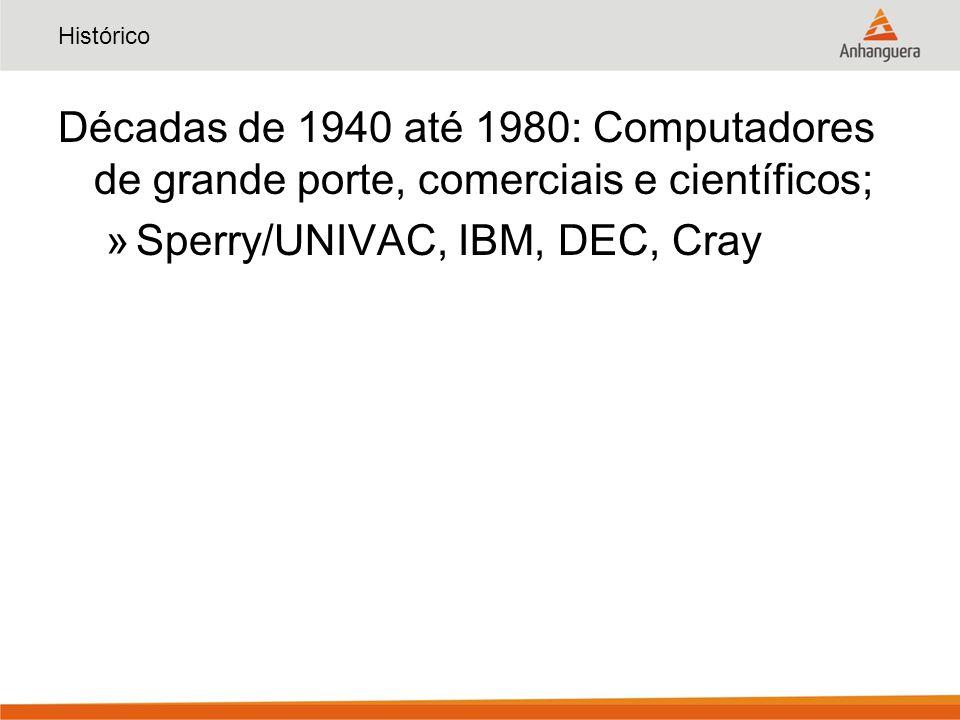 Histórico Décadas de 1940 até 1980: Computadores de grande porte, comerciais e científicos; »Sperry/UNIVAC, IBM, DEC, Cray
