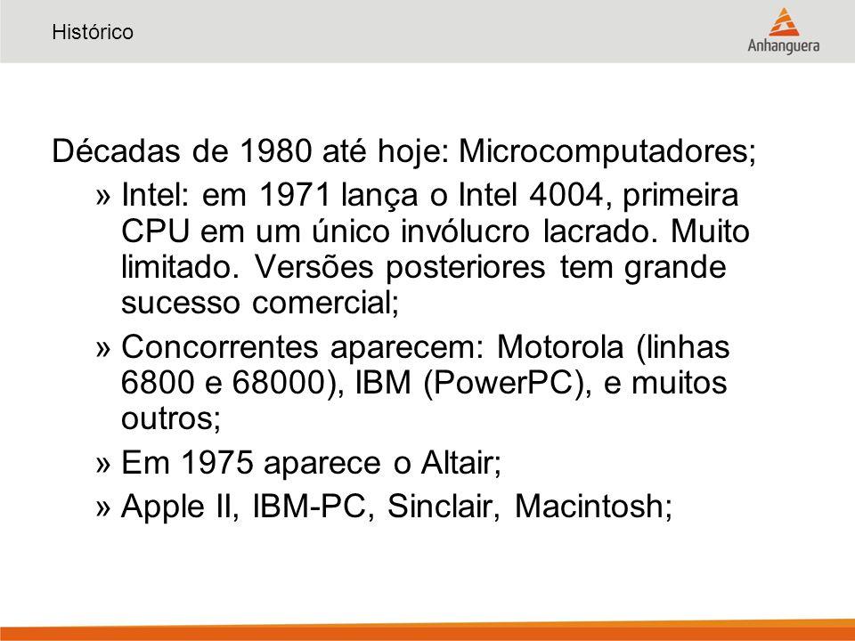 Histórico Décadas de 1980 até hoje: Microcomputadores; »Intel: em 1971 lança o Intel 4004, primeira CPU em um único invólucro lacrado. Muito limitado.
