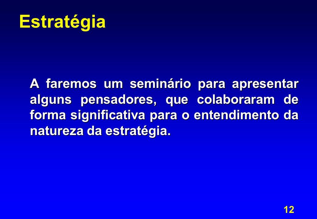 12 Estratégia A faremos um seminário para apresentar alguns pensadores, que colaboraram de forma significativa para o entendimento da natureza da estratégia.