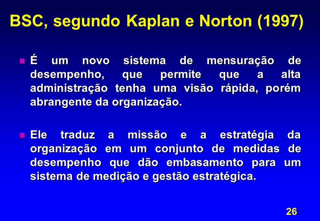 26 BSC, segundo Kaplan e Norton (1997) n É um novo sistema de mensuração de desempenho, que permite que a alta administração tenha uma visão rápida, porém abrangente da organização.