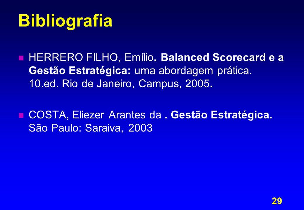 29 Bibliografia n n HERRERO FILHO, Emílio. Balanced Scorecard e a Gestão Estratégica: uma abordagem prática. 10.ed. Rio de Janeiro, Campus, 2005. n n