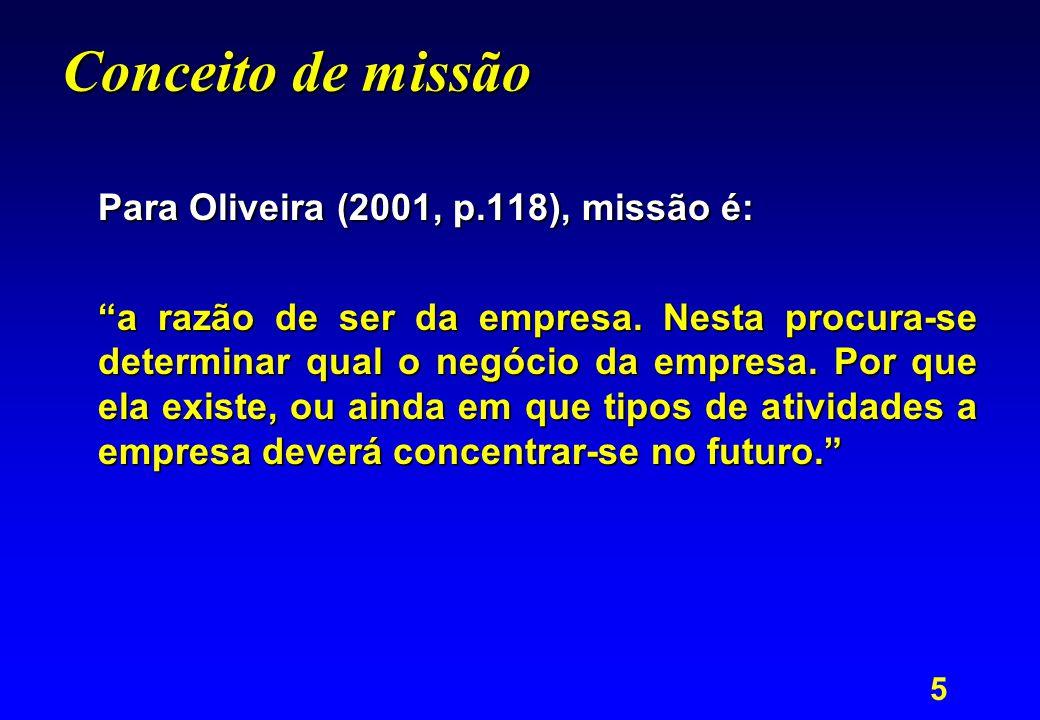 """5 Conceito de missão Para Oliveira (2001, p.118), missão é: """"a razão de ser da empresa. Nesta procura-se determinar qual o negócio da empresa. Por que"""
