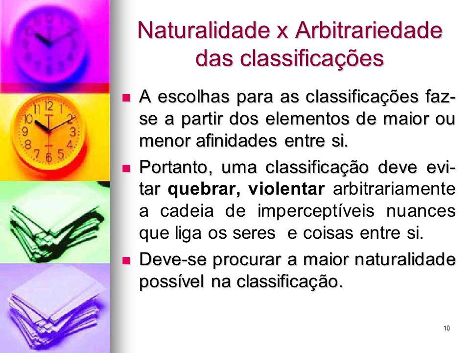 Naturalidade x Arbitrariedade das classificações A escolhas para as classificações faz- se a partir dos elementos de maior ou menor afinidades entre s