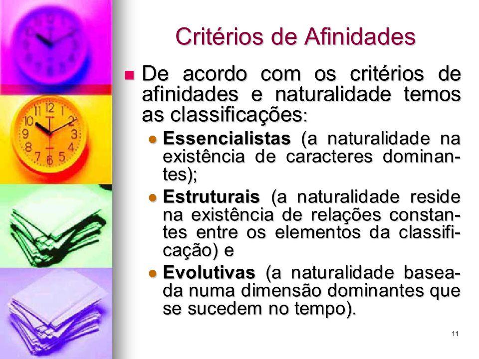 Critérios de Afinidades De acordo com os critérios de afinidades e naturalidade temos as classificações : De acordo com os critérios de afinidades e n