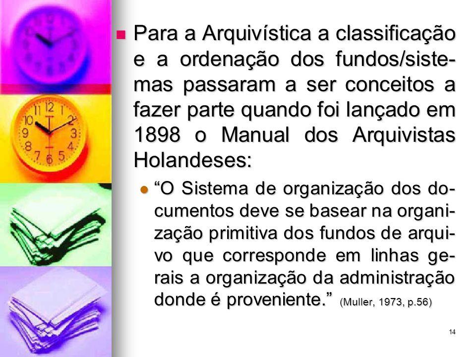 Para a Arquivística a classificação e a ordenação dos fundos/siste- mas passaram a ser conceitos a fazer parte quando foi lançado em 1898 o Manual dos