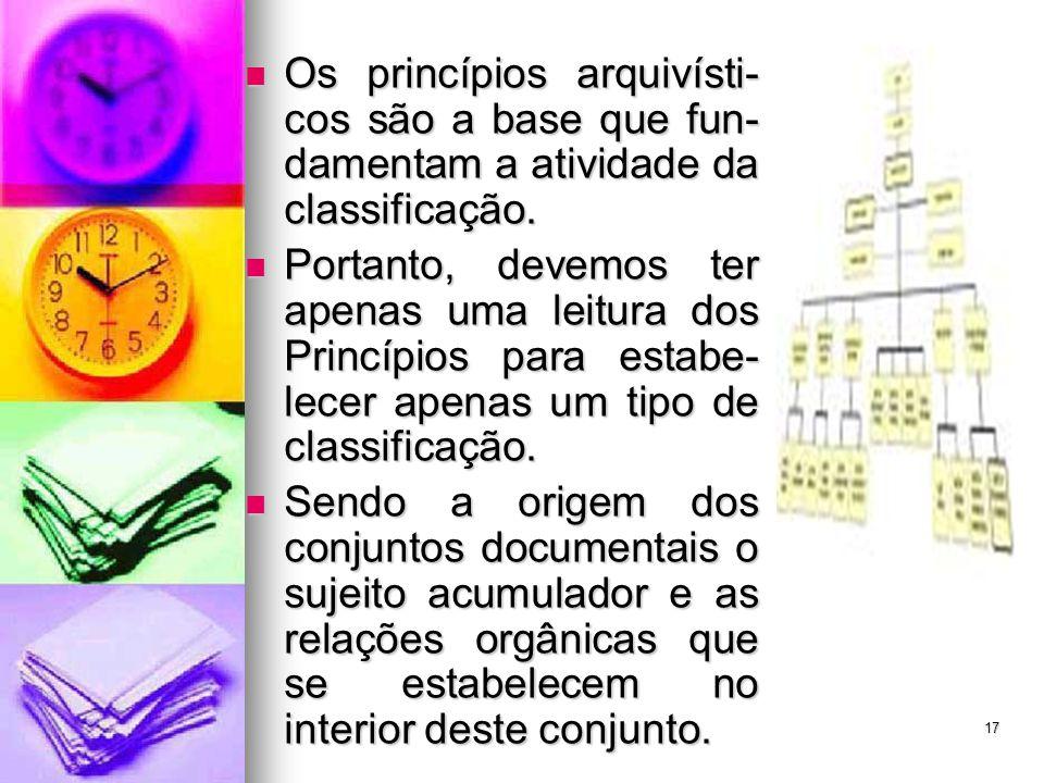 Os princípios arquivísti- cos são a base que fun- damentam a atividade da classificação. Os princípios arquivísti- cos são a base que fun- damentam a