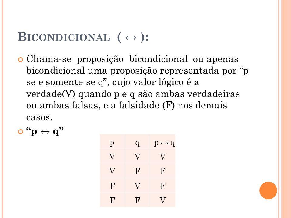 """B ICONDICIONAL ( ↔ ): Chama-se proposição bicondicional ou apenas bicondicional uma proposição representada por """"p se e somente se q"""", cujo valor lógi"""